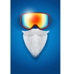 Santa Claus symbol with ski goggles and white vector image
