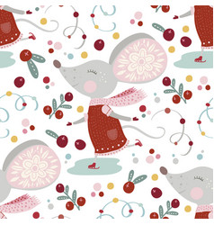 seamless pattern with cute cartoon mouse vector image