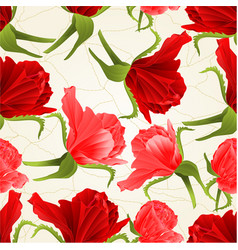 seamless texture red and pink roses flower buds vector image