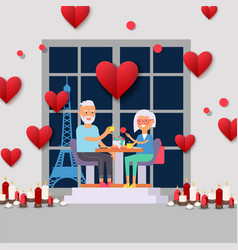 senior couple on romantic date in paris elderly vector image