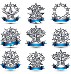 Set of silvery heraldic 3d glossy icons best for vector