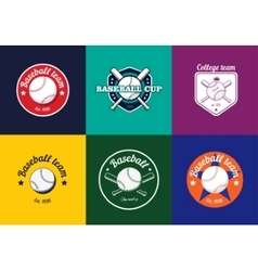 set vintage color baseball championship logos vector image