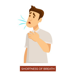 Shortness breath man with symptoms of vector