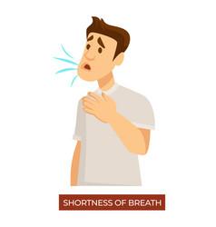 Shortness breath man with symptoms vector