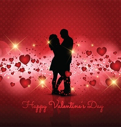 Silhouette of couple on Valentines Day background vector image