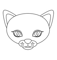 Silhouette picture face cute cat animal vector
