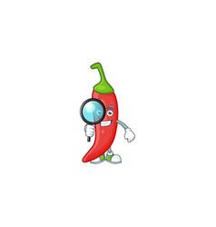 Smart one eye red chili detective cartoon vector