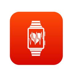 smartwatch with sport app icon digital red vector image