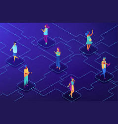 social network concept isometric vector image