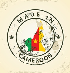 Stamp with map flag of Cameroon vector image