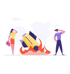 Startup rocket crash concept unplanned business vector