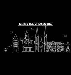 strasbourg silhouette skyline france - strasbourg vector image