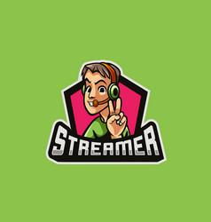 Streamer cartoon logo premium vector