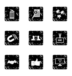 Team icons set grunge style vector