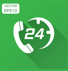 Technical support 247 icon in flat style phone vector