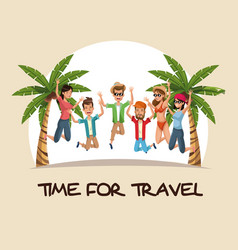 Time for travel group people jumping happy palm vector