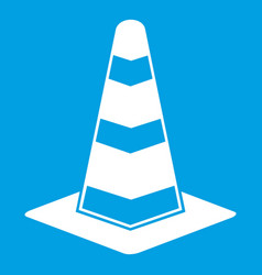 Traffic cone icon white vector