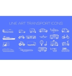 Transport line icons big set vector