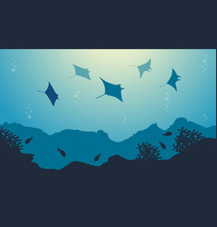 Underwater landscape of stingray and fish vector