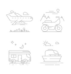 urban transport icons compositions vector image
