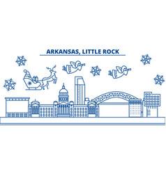 Usa arkansas little rock winter city skyline vector
