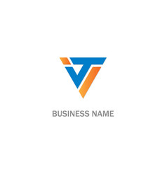 V initial triangle colored logo vector