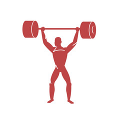 weightlifter raises heavy barbell very hard sport vector image