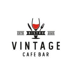 Wine glass spoon fork knife restaurant vintage vector
