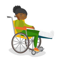 Woman with broken leg sitting in a wheelchair vector