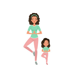 Young curly-haired mother with daughter doing yoga vector