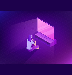 Young girl playing video games flat game vector