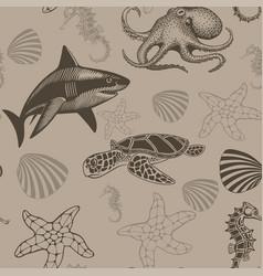 aquatic seamless pattern vector image