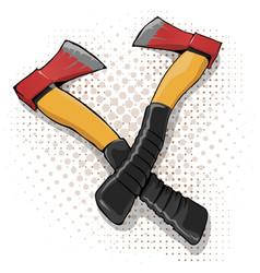Cartoon axe icon with yellow handle vector