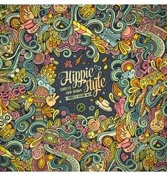 Cartoon hand drawn doodles hippie vector image vector image