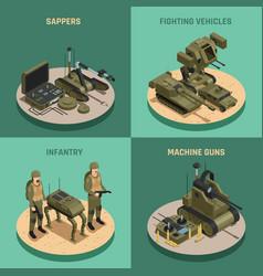fighting robots 2x2 design concept vector image