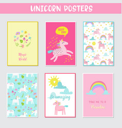 greeting cards set with cute magic unicorns vector image