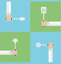 kitchen tools modern flat set vector image
