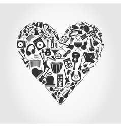 music mosaic heart vector image