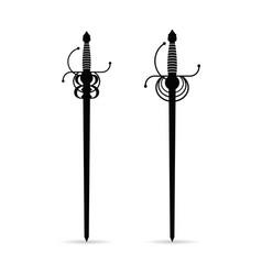 sword ancient set in black color vector image