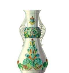 watercolor vase with geometric pattern vector image