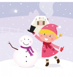 winter girl making snowman vector image vector image