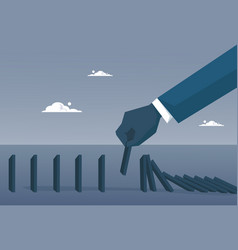 business man hand chart bar falling economic fail vector image