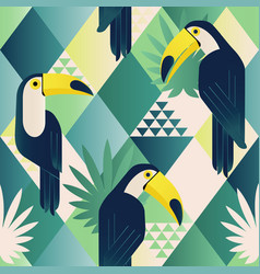 exotic trendy seamless pattern tropical toucan vector image vector image