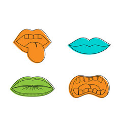 lips icon set color outline style vector image