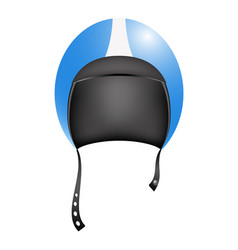 retro motorcycle helmet in blue and white design vector image