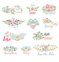 spring typographic flower badge design vector image vector image
