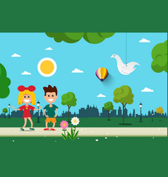 boy and girl in city park flat design scene vector image vector image