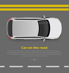 car on road conceptual flat web banner vector image vector image