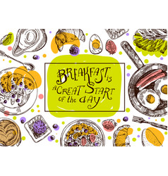 hand drawn breakfast is a vector image