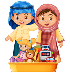 Muslim kids and toys in tray vector